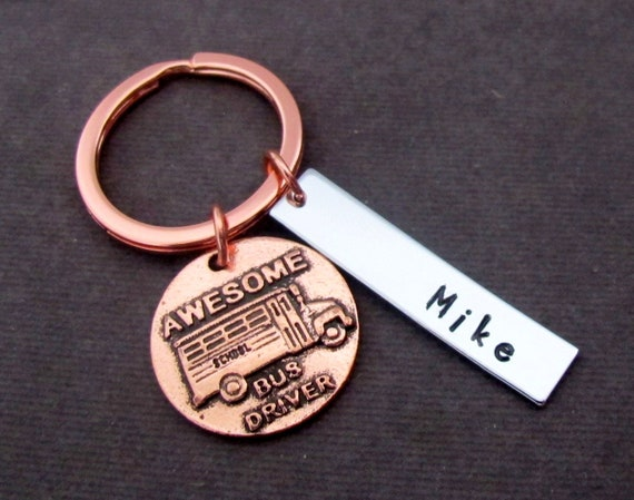 School Bus Keychain, Awesome School Bus Driver Keychain, Rose Gold Keychain,End of the School Gift,School Bus Driver Gift, Free Shipping USA