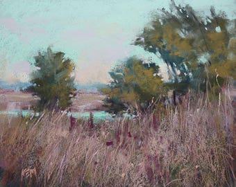Autumn Marsh Fall Landscape Pink Original Pastel Painting Karen Margulis