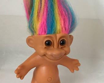 "Vintage Rainbow hair Russ Troll circa 1990 4"""