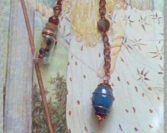 Blue Quartz Pendulum, Copper Pendulum, Truth Pendulum, Gemstone Pendulum, Intuition Pendulum, Dowsing Pendulum, Healing Pendulum