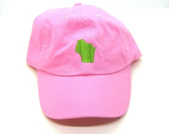 Clearance - Sale - Gift - Gracie Designs Hat - Lime Green on PInk Wisconsin Dad Hat