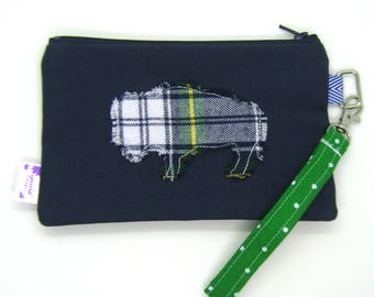 Clearance - Sale - Gift - Gracie Designs Wristlet - Plaid bison or Buffalo