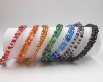 Easy Wear Glass Bead Bracelet for Spoonies buy 1 or2. Pick your Color.