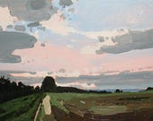 Way In, Original Summer Lanscape Sky Painting on Panel, Ready to Hang, Stooshinoff