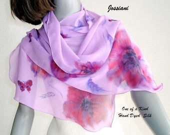 Lavender Scarf with Flowers, Hand Painted Silk Wrap Shoulder Shawl, Pure Silk Chiffon, Lilac Lavender Red  One of a Kind, JOSSIANI