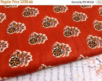 SALE- Vintage Floral Fabric-Rust-Home Dec Fabric