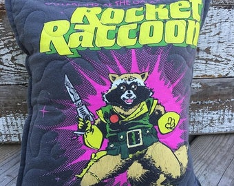 CRAZY SALE- Marvel-Rocket Raccoon-Guardians of the Galaxy-Comic- Throw Pillow--Upcycled Eco Friendly-Quilted-