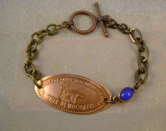Partisan - Vintage 1960s Copper Pressed Penny Support the Democratic Party Blue Scarab Link Recycled Repurposed Bracelet