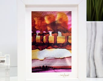 Pink, Red & Yellow Framed Abstract Print On Metal, Hand-Signed Modern Metal Art, Contemporary Desk Top Art, Bookshelf Decor by Jon Allen - A