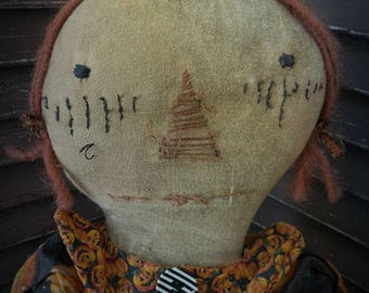 MUSTARD SEED ORIGINALS, Raggedy Ann, Pumpkins, Jackolantern, Black, Orange, Star, Moon, Doll by Sharon Stevens