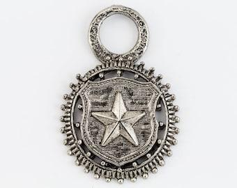 45mm Antique Silver Star Badge Medallion Charm #CHA195