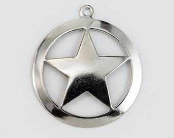 35mm Silver Star in Circle Charm (2 Pcs) #CHB196