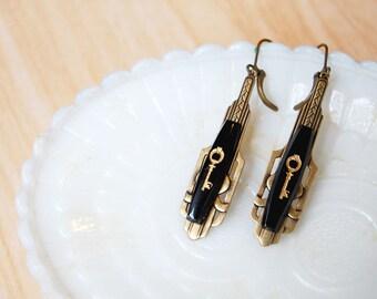 vintage deco black key dangle earrings- antiqued brass- lever backs