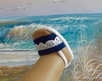 """Doll Sandals for 18"""" Doll and 13-14"""" Doll and 14.5"""" Doll (You Select Size)  True Navy Blue With White Lace Accents"""
