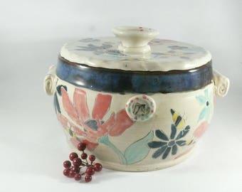 Ceramic Lidded Baking Dish, Casserole Baking Pot Holds 3 Quarts, Ceramics and Pottery, 9th Anniversary Gift