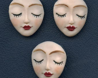 Lot of 3 Polymer Detailed Angel  Face undrilled cabs FAC 3