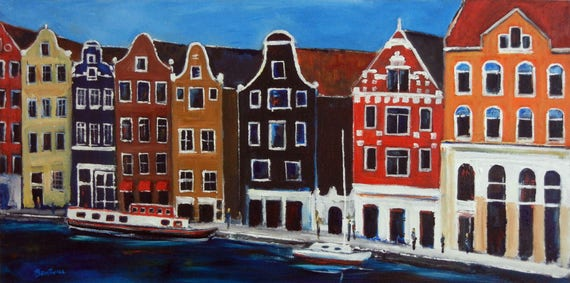 Amsterdam Netherlands - Fine Art Print Giclee from Original Oil Painting by BenWill