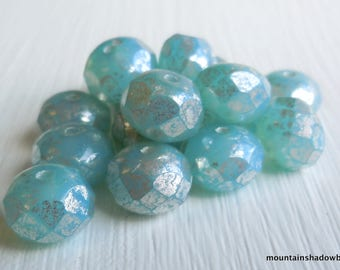 Czech Rondelle Bead - Picasso Beads - Czech Glass Bead Milky Aqua Silver Picasso 8mm Rondelle (G - 326) 10 Beads