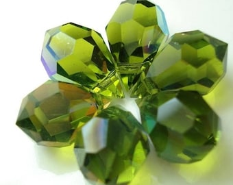 50% OFF Sale Czech Crystal Teardrop Briolette Bead Olivine AB (G - 347)