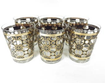 Mid Century Gold Black Tumblers Rocks Glasses Set of 6 Glasses Mid Century Bar 50s 60s