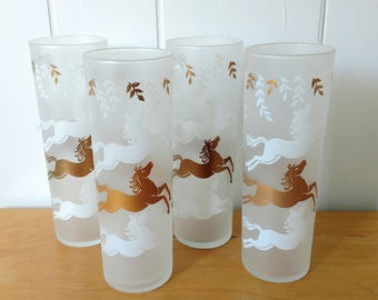 4 vintage Libbey Cavalcade horse glasses