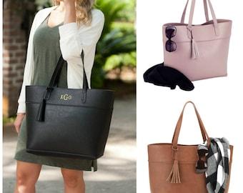 Monogrammed Vegan Leather Tote with Tassel | Black Faux Leather Tote Bag | Monogrammed Camel Handbag | Monogram Blush Rose Purse