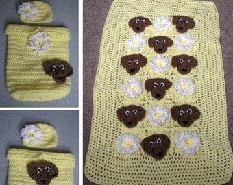 Crochet Pattern - Dachshund Baby Cocoon & Afghan Pattern  - Baby Blanket Pattern - Dachshund Baby - Dachshund Pattern - Animal Pattern- Sale