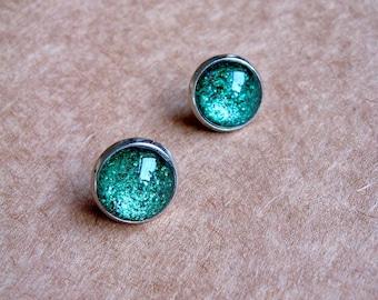 Be Dazzling - True Green Shimmer Post Stud Earrings - Glitter Collection - Glitter Earrings - Saint Patrick Day - Pinch - Lucky Irish