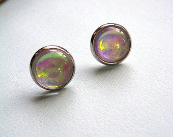 Color Change Post Stud Earrings - Glitter Collection - Mulit Color Earrings - Pink Green Blue Orange