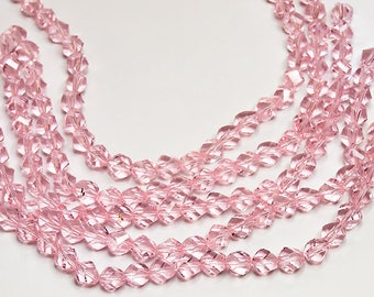 Rose Pink Helix Crystals- crystal beads- pink crystals- faceted crystal beads- designer beads- pink beads- helix crystals-jewelry supplies
