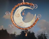 Reserved Listing, Please Do Not Purchase, Stained Glass Moon, Garden Sculpture, Celestial, Copper, Crescent Moon,  Moon Garden, Moon Man
