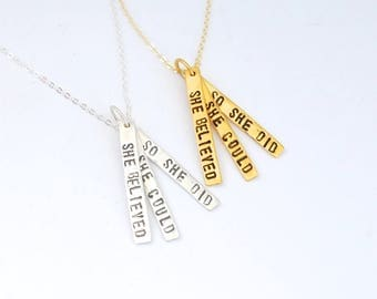 Inspirational quote She Believed She Could So She Did handcrafted quote by Chocolate and Steel 14kt gold vermeil large print Maude necklace