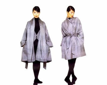 SALE Issey Miyake Oversized Coat Belt Vogue 1386 Sewing Pattern Size 8 - 10 - 12 - 14 - 16 - 18 Bust 31 1/2 - 32 1/2 - 34 - 36 - 38 - 40 Unc