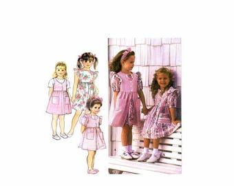 SALE Girls Raised Waist Dress Pinafore Jumper Simplicity 8889 Sewing Pattern Size 5 - 6 - 6X Uncut