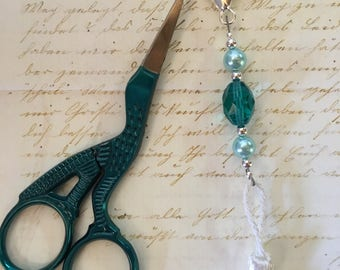 TEAL embroidery scissors AND a pretty beaded scissors fob decoration, teal glass pearls and crystal