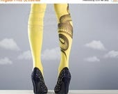 ON SALE/// Yellow Snake Closed Toe one size full length printed tights pantyhose tattoo socks tattoo tights