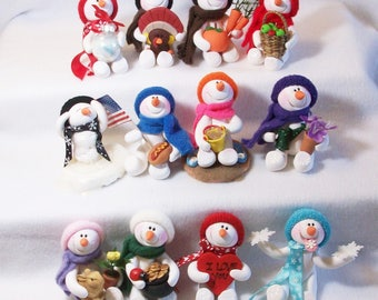 Snowman of the month club subscription: (3) (6) (8) or (12) months, polymer clay snowmen ornaments