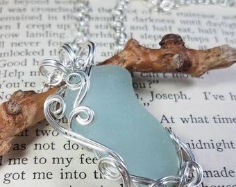 Mermaid's Tear Aqua Sea Glass Fine Silver Freeform Wire Wrapped Pendant