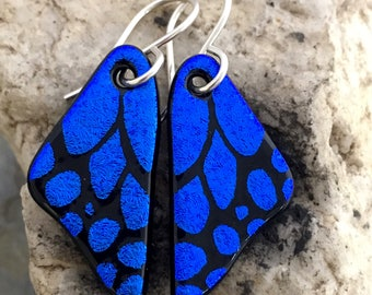 SMALL Butterfly Earrings Hand Etched Dichroic Glass Blue & Sterling Silver