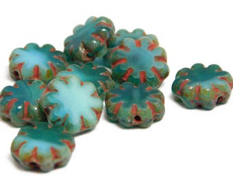Czech Picasso Beads - Flower Beads - Daisy Flower - 9mm - Czech Glass Beads - Small Flower Beads - 10pcs (5189)