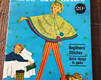 Vintage crochet booklet 1950s mcm midcentury stitch how to guide