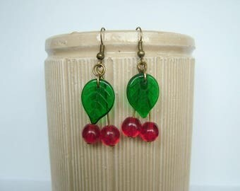 cherry earrings, fruit earrings, fruit, cherries, summer jewellery, red earrings, green earrings, leaf earrings, kitsch, festival, wedding