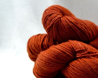 New Yarn New Color Freewheel Organic Merino Worsted Weight by Yarn Hollow in Rusty Engine Hand Dyed Semi Solid 4 ounces 250 yards