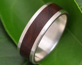 White Gold Wood Wedding Band - Lados Nacascolo Wood Ring - 14k recycled white gold and wood wedding ring, mens wood ring, womens wood ring