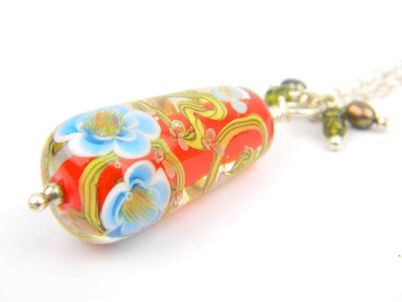 Art Glass Long Necklace - Poppy Sakura Art Glass Bead Sterling Silver Long Necklace - Classic Collection