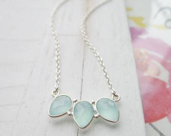 Aqua Chalcedony Trio Necklace