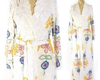 40s Chenille Bathrobe / Vintage 1940s Handmade Cotton Novelty House Coat / Hollywood Regency Glam Floral Bedspread Robe