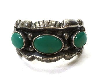 50s Navajo Turquoise & Sterling Silver Ring / Vintage Old Pawn Native American Jewelry / Unisex Cigar Band Style / Size 8.5