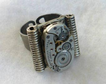Steampunk Style Watch Movement Ring  SR54