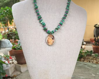 Frida Kahlo Turquoise and Lavender Jade Necklace
